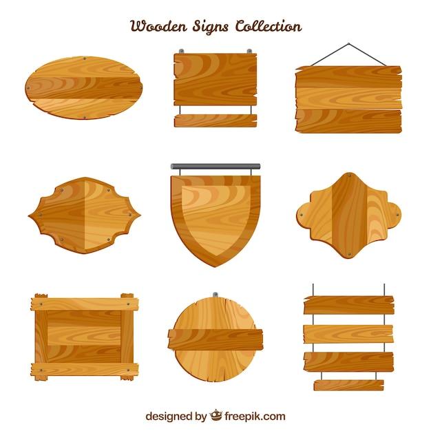 Set di segni di legno in design piatto Vettore gratuito