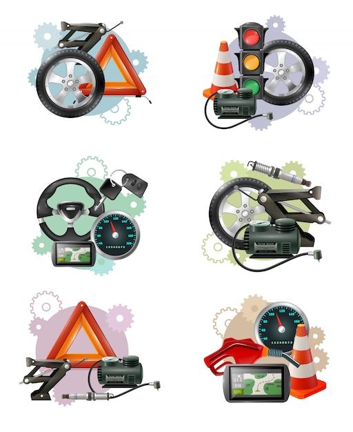 Set di segni di manutenzione auto Vettore gratuito