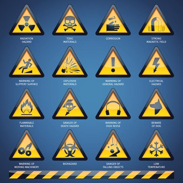 Set di segni di pericolo Vettore gratuito