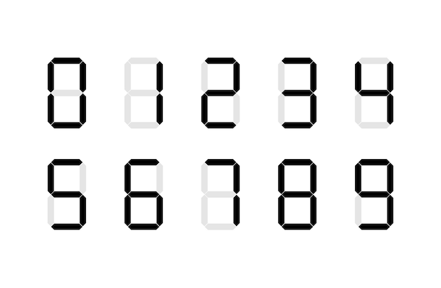 Set di segni numerici digitali Vettore Premium