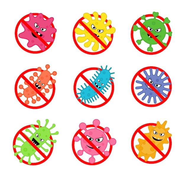 Set di segno antibatterico. nessuna icona di batteri isolata su sfondo bianco. Vettore Premium