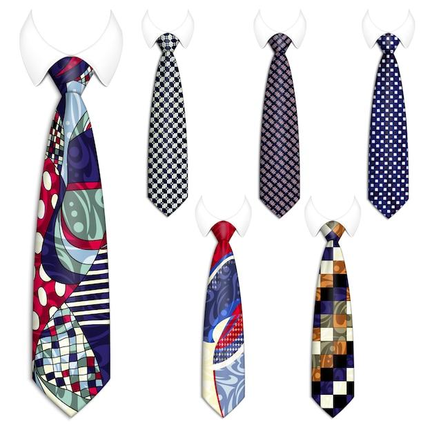 Set di sei cravatte per abiti da uomo. Vettore Premium