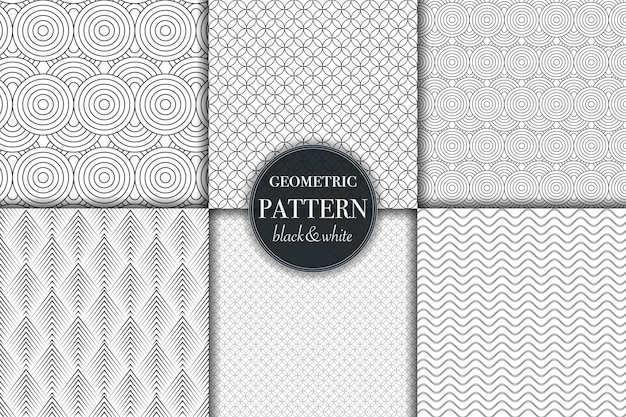 Set di sei motivi geometrici in scala di grigi in bianco e nero Vettore Premium