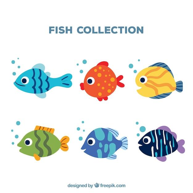 Set di sei pesci Vettore gratuito