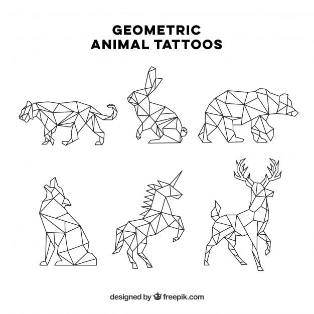 Set di sei tatuaggi animali geometrici Vettore gratuito