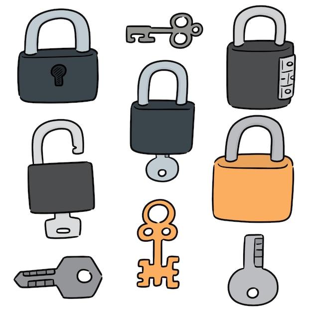 Set di serratura e chiave Vettore Premium