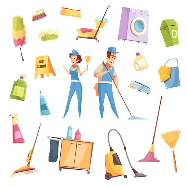 Set di servizi di pulizia Vettore gratuito
