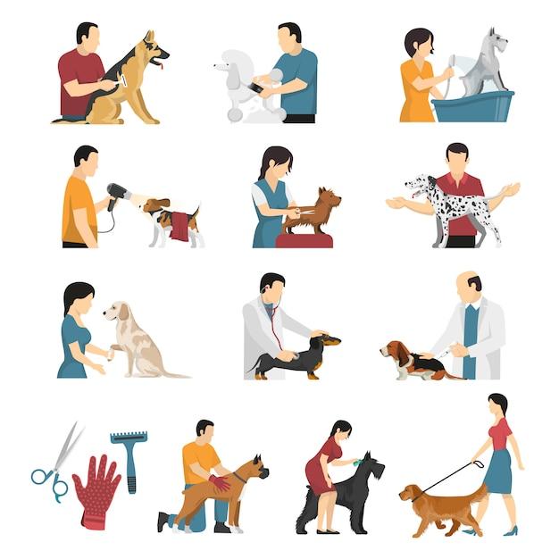Set di servizi per cani veterinari Vettore gratuito