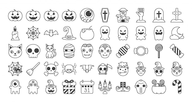 Set di set di halloween Vettore gratuito
