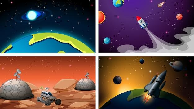 Set di set di sfondo dello spazio Vettore gratuito