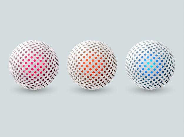 Set di sfere 3d astratte. Vettore Premium