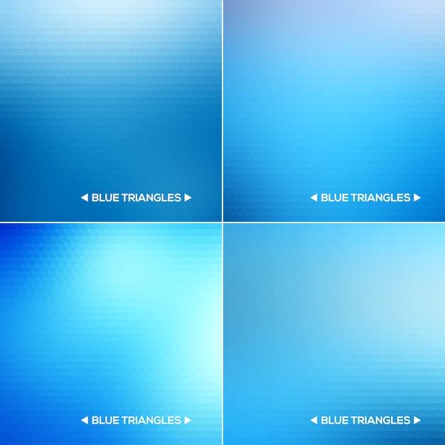 Set di sfondi astratti triangolo blu Vettore Premium