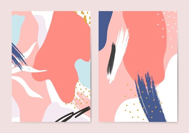 Set di sfondi colorati stile memphis Vettore gratuito