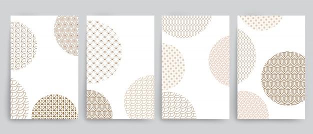 Set di sfondi con cerchi e diverso disegno geometrico dorato Vettore Premium