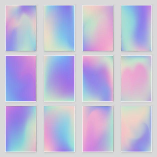 Set di sfondi iridescenti sfumati di lamina olografica luminoso ologramma alla moda Vettore Premium