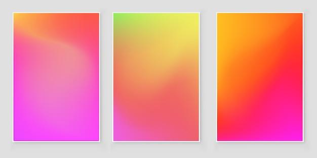 Set di sfondi iridescenti sfumati di lamina olografica. luminoso ologramma minimalista alla moda Vettore Premium