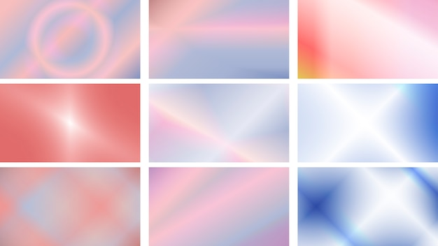 Set di sfondi moderni in colori vivaci e morbidi Vettore Premium