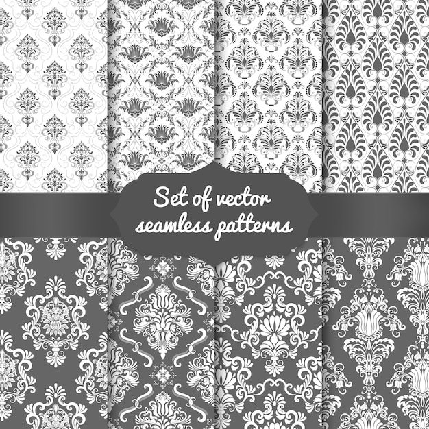 Set di sfondi seamless pattern damascati. ornamento damascato vecchio stile di lusso classico Vettore gratuito