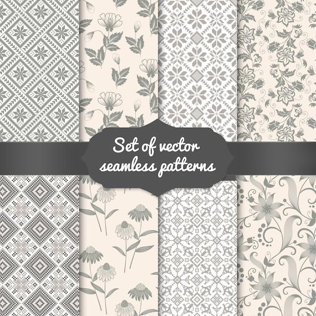 Set di sfondi seamless pattern fiore. trame eleganti per sfondi, sfondi, ecc. Vettore gratuito