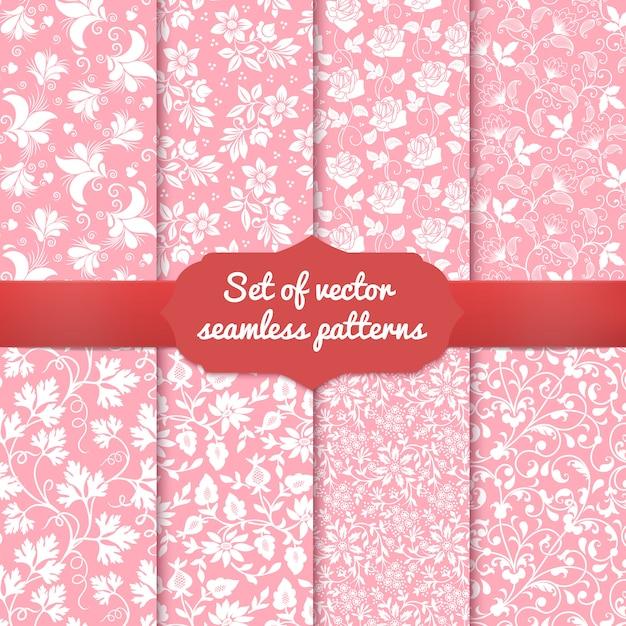 Set di sfondi seamless pattern fiore. Vettore gratuito