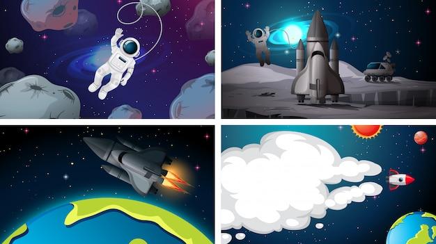 Set di sfondi spaziali Vettore gratuito