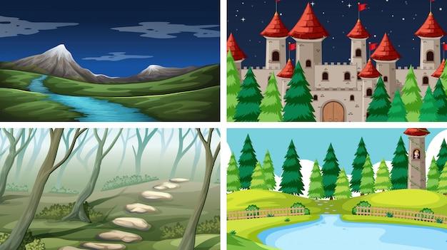 Set di sfondo del paesaggio di natura Vettore gratuito