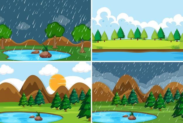 Set di sfondo della natura Vettore gratuito