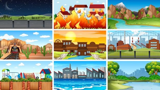 Set di sfondo diverso paesaggio Vettore gratuito