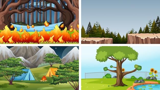 Set di sfondo diverso Vettore Premium