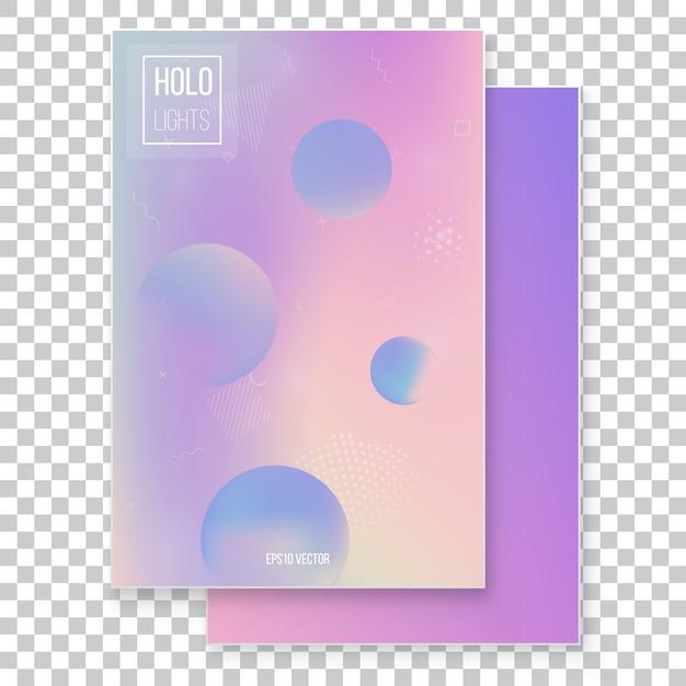 Set di sfondo olografico moderno futuristico. stile retrò anni '90, '80 Vettore Premium