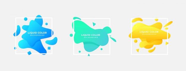 Set di sfondo quadrato gradiente di colore liquido Vettore Premium