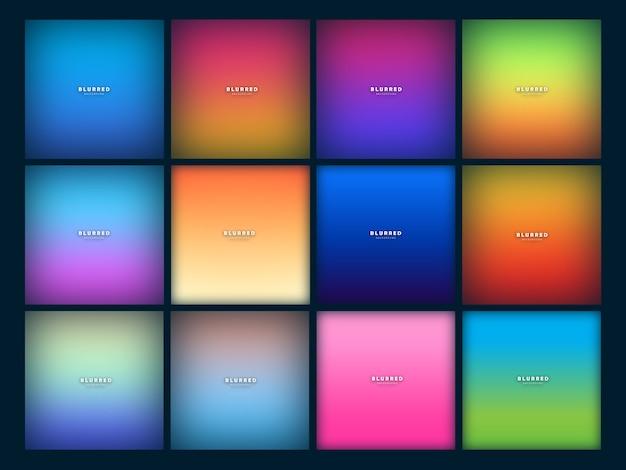 Set di sfondo sfocato moderno Vettore Premium