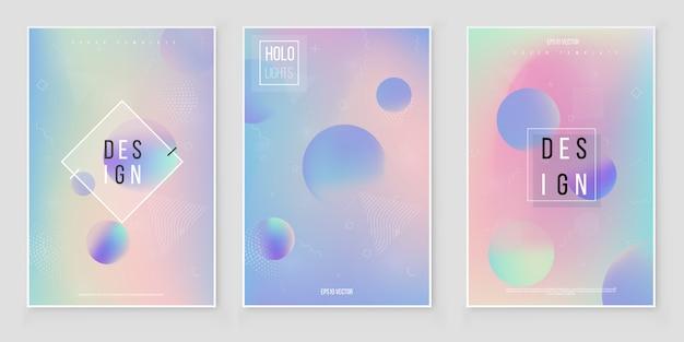 Set di sfondo sfocato ologramma offuscata astratto sfondo olografico iridescente. vettore di lamina olografica Vettore Premium