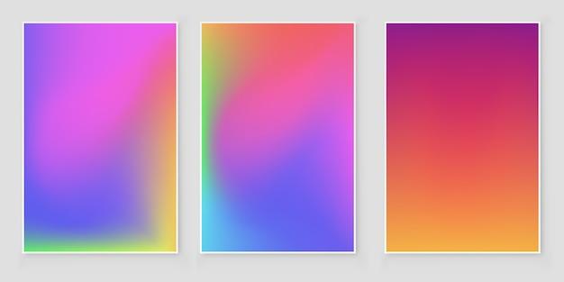 Set di sfondo sfocato ologramma offuscata astratto sfondo olografico iridescente. Vettore Premium