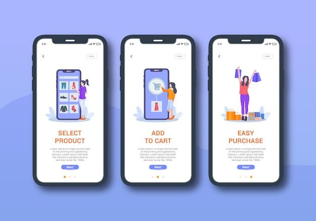 Set di shopping online dell'interfaccia utente mobile sullo schermo di onboarding Vettore Premium