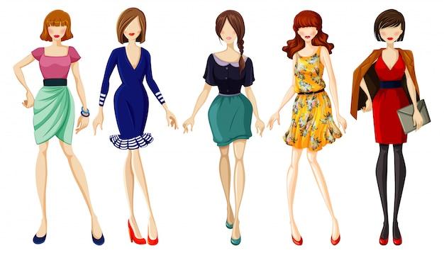 Set di signora alla moda Vettore gratuito