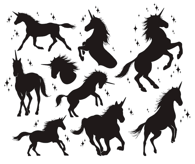 Set di silhouette di unicorno Vettore Premium