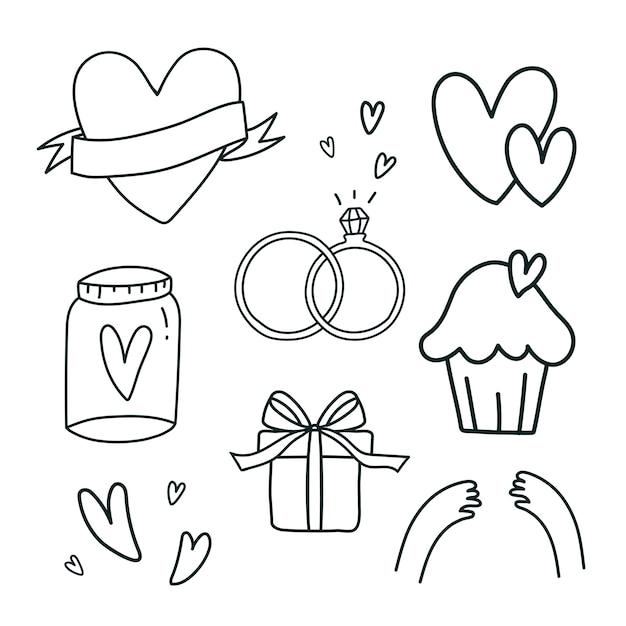 Set di simboli di amore vettoriale Vettore gratuito