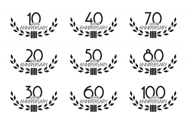 Set di simboli di anniversario Vettore Premium