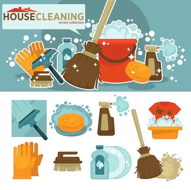 Set di simboli di servizio di pulizia. Vettore Premium