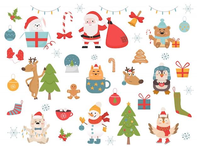 Set di simboli e illustrazioni di animali vacanze invernali Vettore Premium