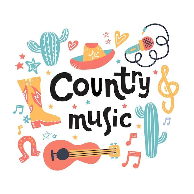 Set di simboli sul tema della musica country con lettere disegnate. Vettore Premium