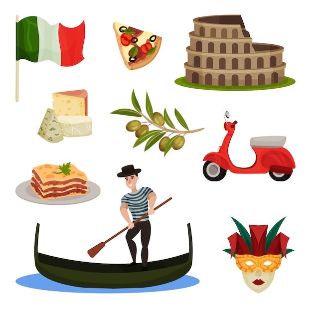 Set di simboli tradizionali d'italia. illustrazione. Vettore Premium