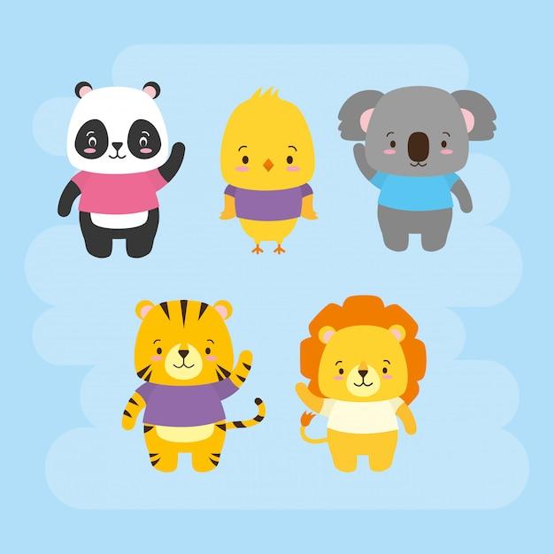 Set di simpatici animali, cartoni animati e stile piano, illustrazione Vettore gratuito