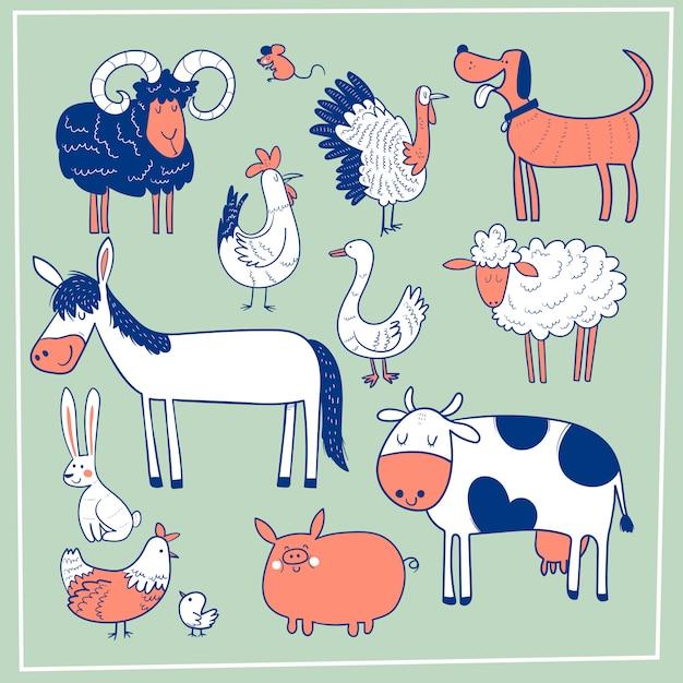 Set di simpatici animali da fattoria. disegnato a mano di vettore Vettore Premium