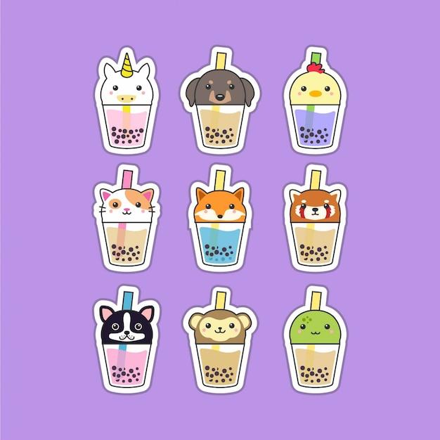 Set di simpatici animali da tè boba Vettore Premium
