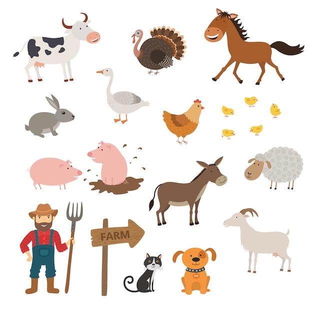 Set di simpatici animali della fattoria Vettore Premium