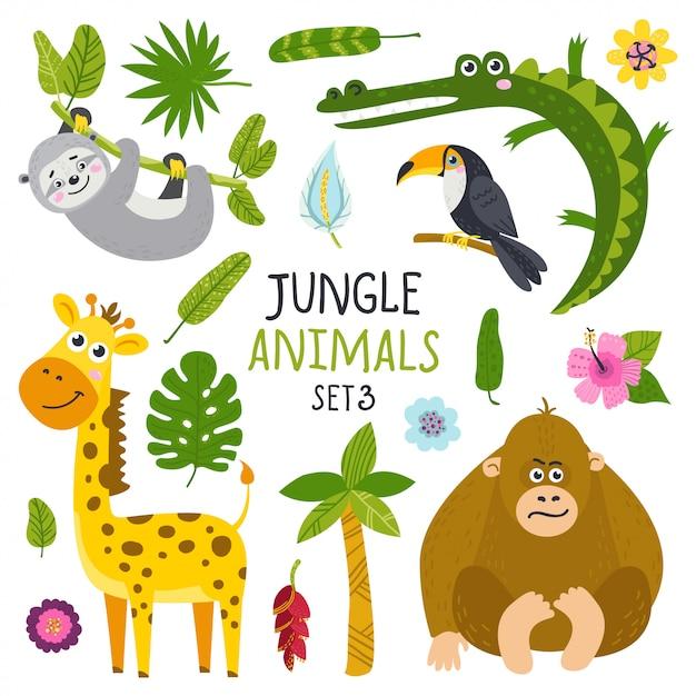 Set di simpatici animali della giungla Vettore Premium
