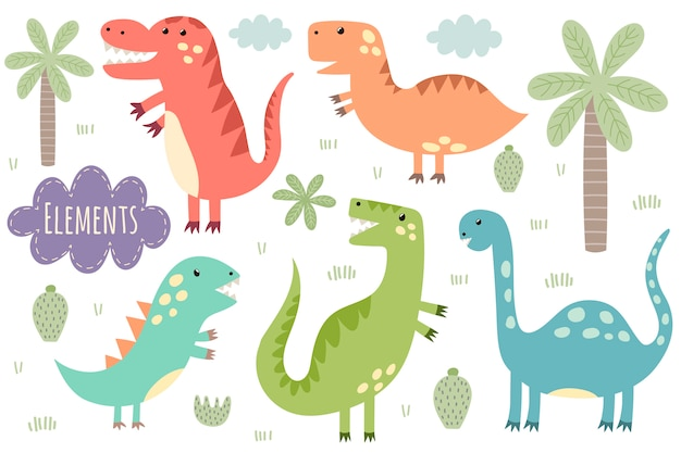 Set di simpatici dinosauri isolati. dinos, palme, cactus, nuvole, piante. Vettore Premium