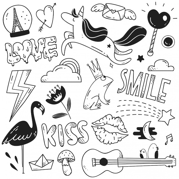 Set di simpatici doodle per la stampa e il modello Vettore Premium